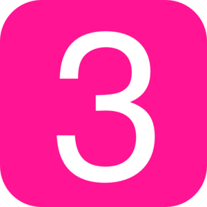 Pink, Rounded, Square With Number 3 Clip Art