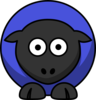 Sheep - Purple Blue On Black  Clip Art