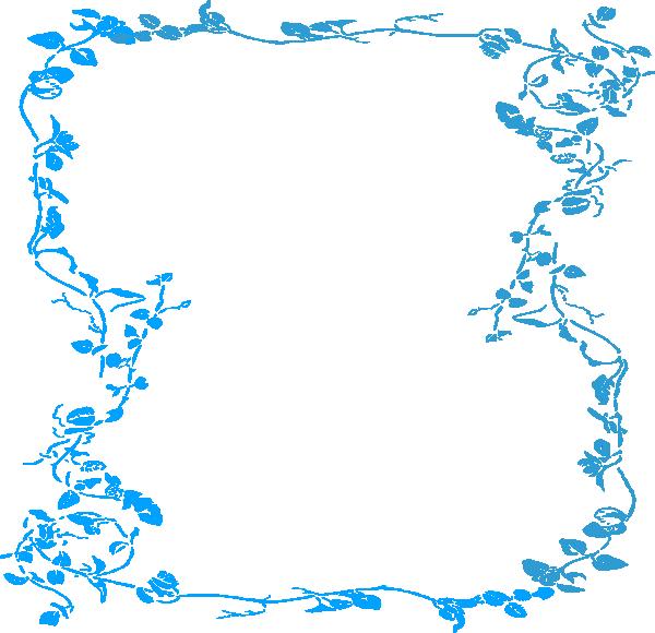 Malibu Blue Floral Border Clip Art At Clker Com Vector