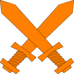 Orange Crossed Swords Clip Art