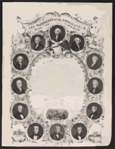 The Presidents Of The United States And Declaration Of Independence  / On Stone By J. Britton ; Lith. Of Wm. Endicott & Co., 59 Beckman St., N. York. Clip Art