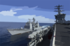 Uss Princeton (cg 59) Pulls Alongside Nimitz And Prepares To Receive Lines For A Replenishment At Sea (ras) Clip Art