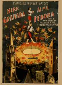Herr Granada, Alma Fedora In Their Own Invention, The Revolving Pyrotechnic Fountain Marvellous [sic] High Wire Artists. Clip Art