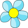Turquoise Blue Flower With Yellow Center Clip Art