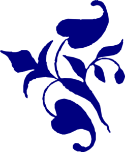 Navy Flower Corner Vine Clip Art