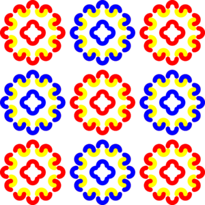 Blue And Red Tile Decoration Clip Art