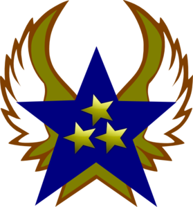 Blue Star With 3 Gold Star And Wings Clip Art
