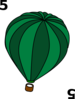 4 Hot Air Balloon Green Clip Art