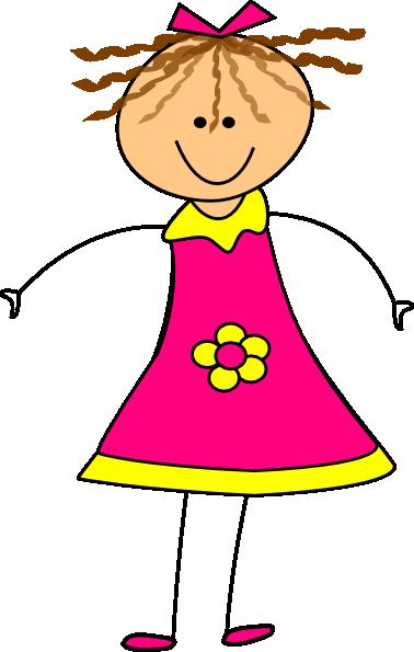 happy girl pink clip art at clkercom vector clip art