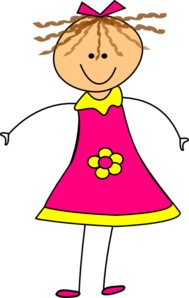 Happy Girl Pink Clip Art