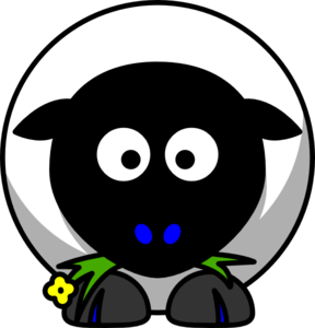 Sheep Black Face Blue Toes Clip Art