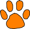 Orange Tiger Paw With Black Outline Clip Art
