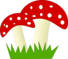 Red And White Dotted Mushrooms Clip Art