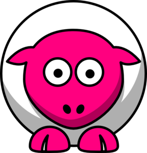 Sheep Looking Straight White With Hot Pink Face And White Nails Clip Art