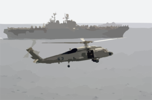 A Sh-60 Seahawk Helicopter Comes In For A Landing On The Flight Deck Of Uss Nimitz (cvn 68), While The Amphibious Assault Ship Uss Iwo Jima (lhd 7) Cruises Alongside Clip Art
