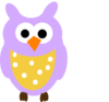 Purple Owl And Dots Clip Art