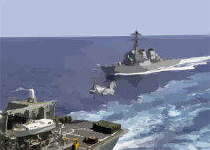 The Guided Missile Destroyer Uss Fitzgerald (ddg 62) Approaches The Fast Combat Support Ship Uss Bridge To Begin A Vertical Replenishment Clip Art