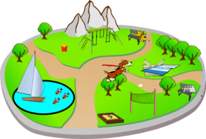 City Park: Various Activites 2 Clip Art