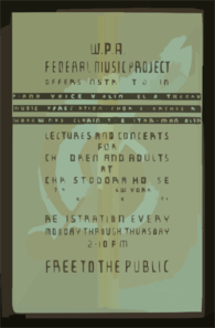 W.p.a. Federal Music Project Offers Instruction In Piano, Voice, Violin, Cello, Theory [...] Lectures And Concerts For Children And Adults At Christodora House : Registration Every Monday Through Thursday : Free To The Public. Clip Art