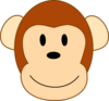 Thinner Smiling Brown Monkey Head, Brown Border Clip Art
