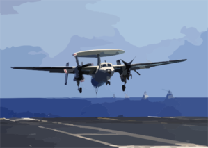 An E-2c Hawkeye Assigned To The  Sunkings  Of Carrier Airborne Early Warning Squadron One One Six (vaw-116) Comes In For A Recovery Aboard The Aircraft Carrier Uss Constellation (cv 64) With One Engine After Having An In-flight Emergency. Clip Art
