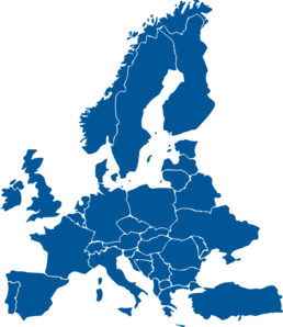 Europe Map Dark Blue Clip Art