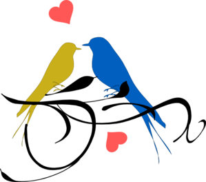 Birds On A Branch Blue And Yellow Clip Art