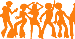 Orange Disco Party Clip Art
