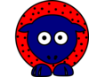 Sheep - Red With Black Polka-dots And Blue Feet Clip Art
