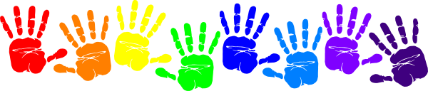 Rainbow Handprints clip art