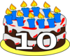 10th Birthday Cake Dom Clip Art