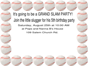 Baseball Birthday Party Clip Art