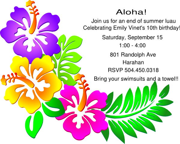 tropical party invites
