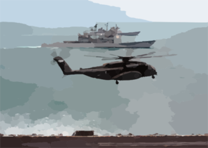 An Mh-53e Sea Dragon Assigned To The Blackhawks Of Helicopter Mine Countermeasures Squadron One Five (hm-15) Lands On The Flight Deck Aboard Uss Enterprise (cvn 65), Clip Art