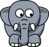 Elephant Looking Right-down Clip Art
