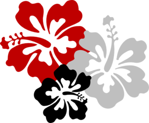 Hibiscus Red Black Grey Clip Art