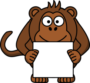Monkey With Sign Clip Art