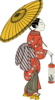 Asian Girl With Umbrella Clip Art