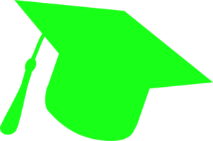 Graduation Hat Silhouette Green Clip Art
