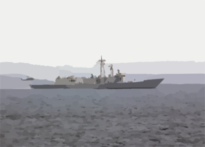 He Guided Missile Frigate Uss Thach (ffg 43) Steams Along As A Helicopter Lands On It Clip Art