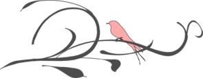 Pink Bird On A Branch Clip Art