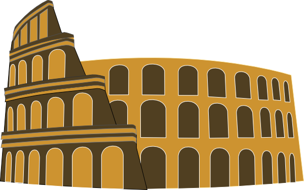 Colosseum Rome Simplified Brown Gold Clip Art at Clker.com ...