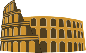 Colosseum Rome Simplified Brown Gold Clip Art