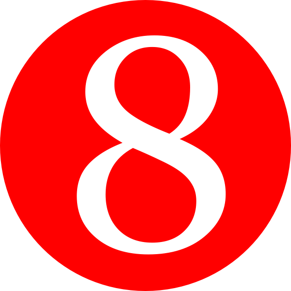 Red, Rounded,with Number 8 Clip Art at Clker.com - vector clip art on