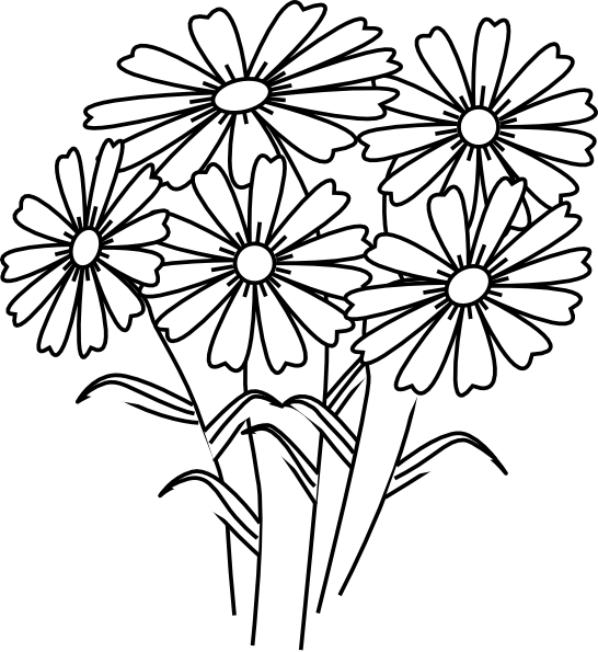 outline pictures flowers coloring pages for kids | Coloring Book Flowers Clip Art at Clker.com - vector clip art online, royalty free & public domain