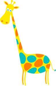 Giraffe Yellow With Orange And Teal Dots Clip Art