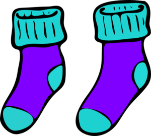 Turquoise Purple Sock Clip Art