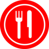 Red Plate With Knife And Fork Clip Art