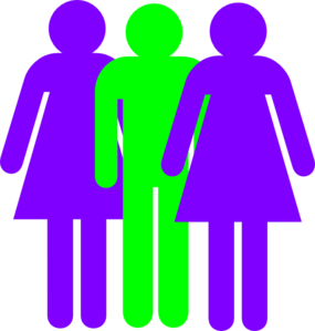 Boy And 2 Girls Stick Figure - Green Purple Clip Art
