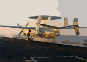An E-2c Hawkeye Assigned To The Black Eagles Of Carrier Airborne Early Warning Squadron One One Three (vaw-113) Launches From One Of Four Steam Powered Catapults Aboard Uss John C. Stennis (cvn 74) Clip Art